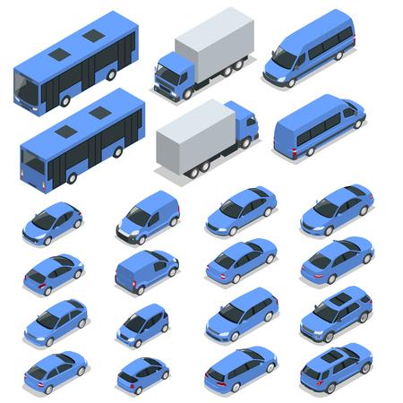 Platte isometrische hoge kwaliteit stadsvervoer auto pictogramserie. Auto, bestelwagen, vrachtauto, off-road, fiets, mini, sportwagen. Transportset. Set van stedelijk publiek en vrachtvervoer voor infographics Stock Illustratie