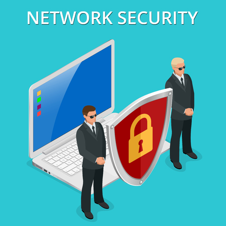 Network security computer security, personal access via finger, user authorization, login, protection technology Vector isometric illustration. Illustration