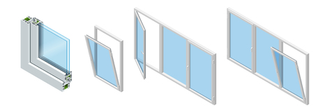 Isometric Cross section through a window pane PVC profile laminated wood grain, classic white. Set of Cross-section diagram of glazed windows. Ilustracja