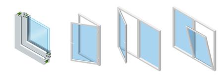 Sección transversal isométrica a través de un panel de ventana. Grano de madera laminado de perfil de PVC, blanco clásico. Conjunto de diagrama de sección transversal de ventanas acristaladas. Ilustración de vector