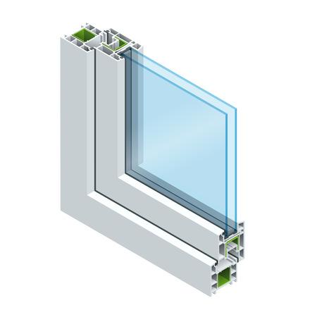 Coupe transversale isométrique à travers une vitre en PVC profilé en bois lamellé, blanc classique. Illustration vectorielle plane du diagramme en coupe transversale de fenêtres vitrées.