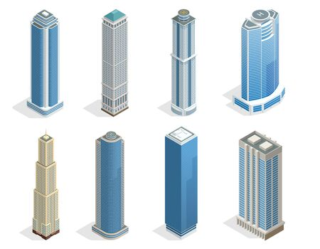 windows: Buildings and modern city houses on 50-70 floors flat isoleted vector icons. Isometric projection of a three-dimensional houses, buildings for web projects, business presentations, infographics, game Illustration