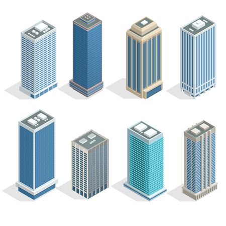 windows: Buildings and modern city houses on 30-40 floors flat isoleted vector icons. Isometric projection of a three-dimensional houses, buildings for web projects, business presentations, infographics, game