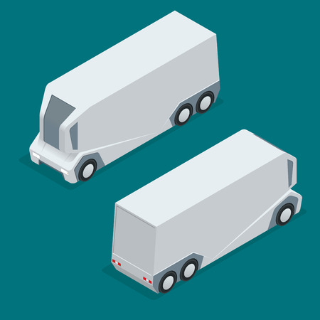 Isometric an unmanned truck on the remote control. Automatic delivery system concept. Self-driving van isolated for web projects, business presentations, infographics and game Иллюстрация