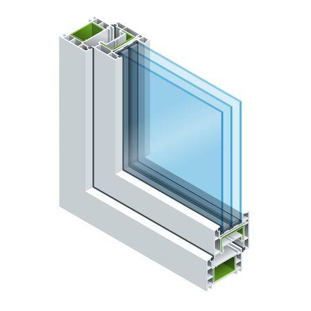Isometric Cross-section diagram of a triple glazed window pane PVC profile laminated wood grain, classic white.