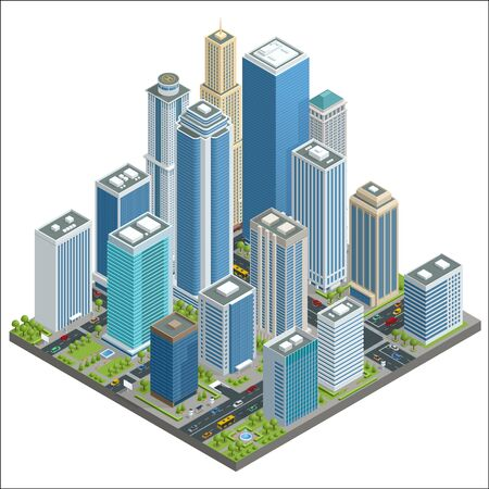 residential homes: Vector isometric city center map with skyscrapers, offices, stores, streets, vehicles, commercial and business area.