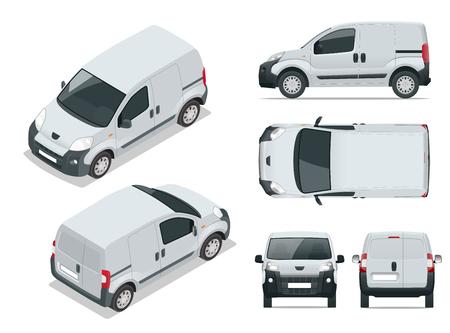 Kleines Van Auto. Lokalisiertes Auto, Schablone für Auto Branding und Werbung. Vorne, hinten, seitlich, oben und Isometrie vorne und hinten. Ändern Sie die Farbe mit einem Klick. Alle Elemente in Gruppen auf separaten Ebenen.