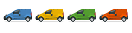Small Van Car. Isolated car, template for car branding and advertising. Side view. Change the color in one click. All elements in groups on separate layers.
