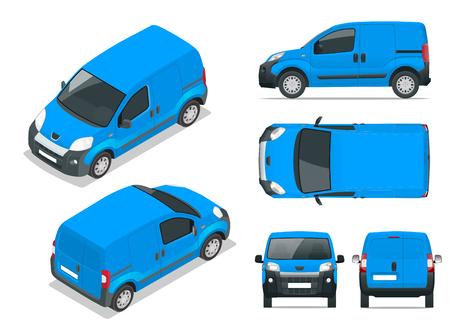 Kleine bestelwagen. Geïsoleerde auto, sjabloon voor auto branding en reclame. Voor, achter, zijkant, bovenkant en isometrie voor en achter. Verander de kleur met één klik. Alle elementen in groepen op afzonderlijke lagen.