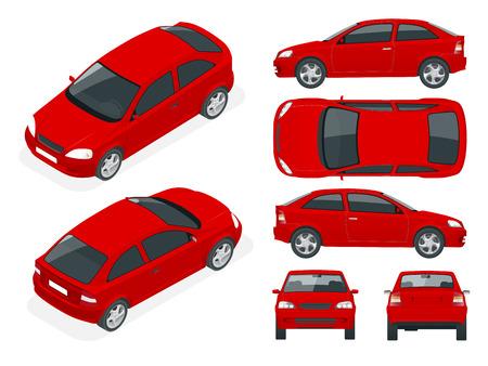 セダン車のセット。隔離された車、車ブランディングや広告用のテンプレート。