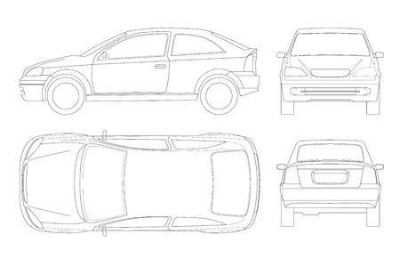 Limousine in Linien. Lokalisiertes Auto, Schablone für Auto Branding und Werbung. Vorne, hinten, seitlich, oben und hinten. Alle Elemente in Gruppen auf separaten Ebenen.