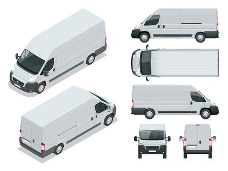 상업용 차량. 물류 자동차. 흰색 배경에 고립 된화물 미니 밴입니다. 전면, 후면, 측면, 상단 및 전면 및 후면 등각 투영 한 번의 클릭으로 색상 변경 별 일러스트