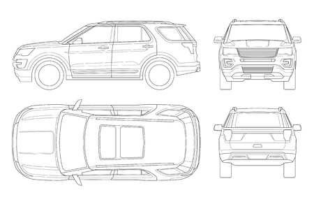Outline Off-road write car or Modern VIP transport. Offroad truck template vector isolated car on white. View front, rear, side, top. All elements in groups on separate layers