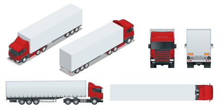 Truck trailer with container. Car for the carriage of goods. Cargo delivering vehicle template vector isolated on white View front, rear, side, top and isometry front, back.