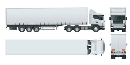LKW-Anhänger mit Container. Fracht, die den Fahrzeugschablonenvektor lokalisiert auf Weiß liefert Ansicht Frontseite, Rückseite, Seite, Spitze. Auto für die Beförderung von Waren.