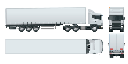 Truck trailer with container. Cargo delivering vehicle template vector isolated on white View front, rear, side, top. Car for the carriage of goods. Illustration