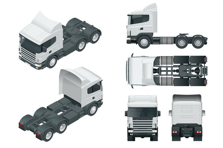 Truck tractor or semi-trailer truck. View front, rear, side, top and isometry front, back.. Cargo delivering vehicle template vector isolated on white 矢量图像