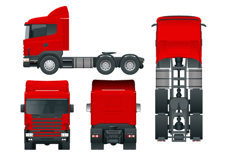 Truck tractor or semi-trailer truck. Cargo delivering vehicle template vector isolated illustration View front, rear, side, top. Car for the carriage of goods. Change the color in one click