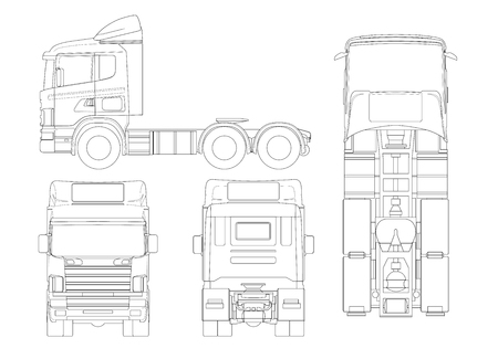 Truck tractor or semi-trailer truck in outline Combination of a tractor unit and one or more semi-trailers to carry freight Vectores