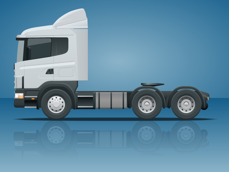tractor trailer: Truck tractor or semi-trailer truck. Cargo delivering vehicle template vector isolated illustration View side. Change the color in one click. All elements in groups.
