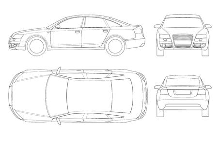 세단 자동차 개요입니다. 화이트 절연 비즈니스 세 단 차량 템플릿 벡터입니다. 전면, 후면, 측면, 상단을 봅니다. 그룹의 모든 요소