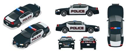 Vector Polizeiauto mit blinkenden Lichtern der Dachspitze, einer Sirene und Emblemen. Schablone lokalisierte Illustration. Sehen Sie vorne, hinten, seitlich, oben und isometrisch. Ändern Sie die Farbe mit einem Klick.