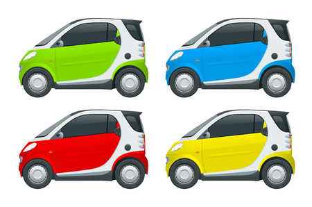 Vector compact smart car. Small Compact Hybrid Vehicle. Eco-friendly hi-tech auto. Easy color change. Template vector isolated on white View side Illustration