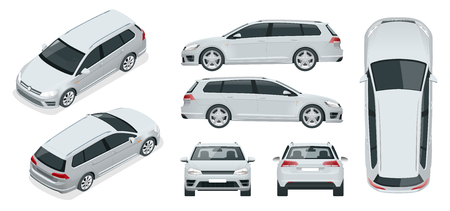 Vector hatchback car. Compact Hybrid Vehicle. Eco-friendly hi-tech auto. Easy color change. Template vector isolated on white View front, rear, side, top and isometric