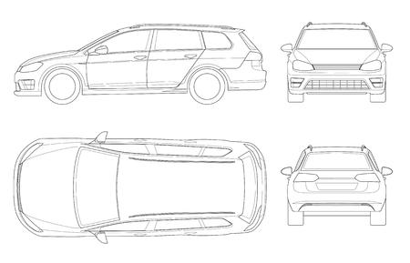 Vektor-Hecktürmodellauto im Entwurf. Kompaktes Hybridfahrzeug. Umweltfreundliches High-Tech-Auto. Einfach die Dicke der Linien zu ändern. Schablonenvektor lokalisiert auf Weiß Ansicht Front, Rückseite, Seite, Spitze
