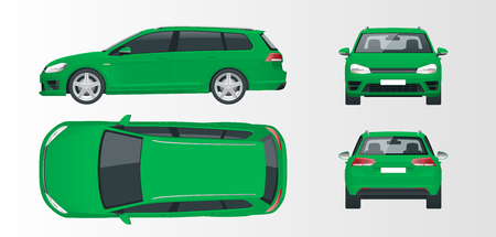 Vector green hatchback car. Compact Hybrid Vehicle. Eco-friendly hi-tech auto. Easy color change. Template vector isolated on white View front, rear, side, top