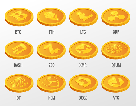 Isometric Vector set of Cryptocurrency gold coins with Bitcoin, ETH, LTC, XRP, DASH, ZEC, XMR, QTUM, IOT, NEN, DOGE, VTC. Digital virtual currency, form of money uses cryptography for security Illustration