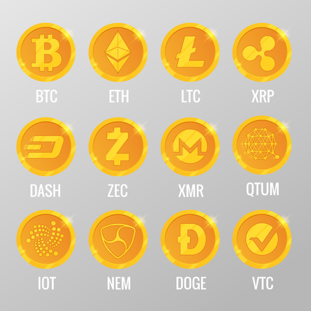 Vector set of Cryptocurrency gold coins with Bitcoin, ETH, LTC, XRP, DASH, ZEC, XMR, QTUM, IOT, NEN, DOGE, VTC. Digital virtual currency, form of money uses cryptography for security, trading online Ilustração