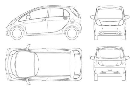 Electric vehicle or hybrid car in outline. Eco-friendly hi-tech auto. Easy to change the thickness of the lines. Template vector isolated on white View front, rear, side, top