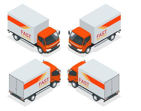 Isometric cargo truck transportation. Fast delivery or logistic transport. Flat vector illustration for infographics and design games. Illustration