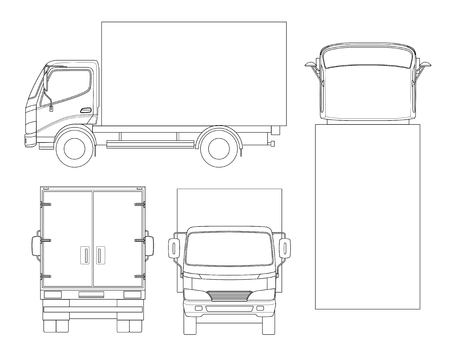 Cargo truck transportation on outline; Fast delivery or logistic transport with front, rear, side, top view on an easy color change template. 向量圖像