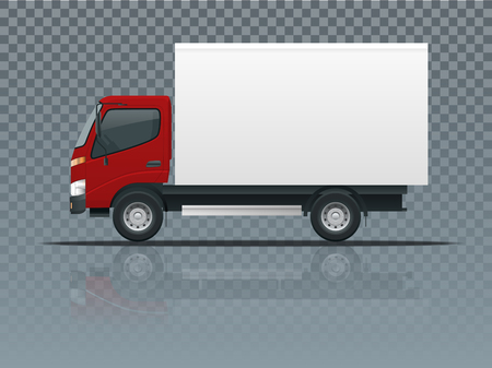Isometric cargo truck transportation on transparent. Fast delivery or logistic transport. Template vector isolated on white view side.