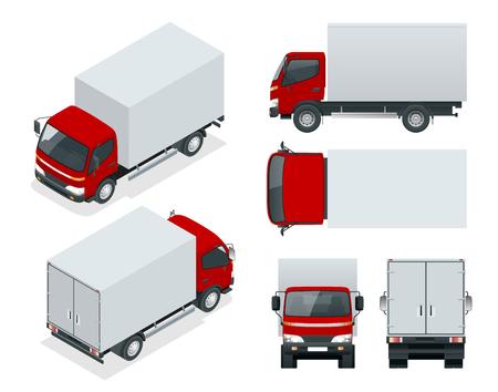 Transporte de camiones de carga; Entrega rápida o transporte logístico en la vista frontal, posterior, lateral y superior en una plantilla de cambio de color fácil.