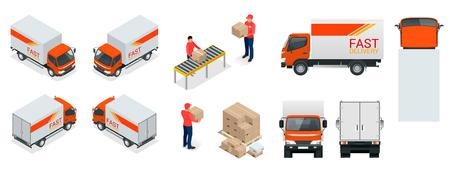 Transport ciężarowy, człowiek dostawy, skrzynki. Szybka dostawa lub transport logistyczny. Szablon wektor odizolowywający na białym widoku.