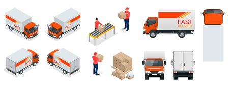 Cargo truck transportation, delivery man, boxes. Fast delivery or logistic transport. Template vector isolated on white view.