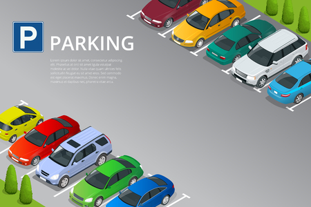 Isometric vector illustration Car in the parking lot . Flat illustration icon for web. Urban transport. Parking space. Accessibility  イラスト・ベクター素材