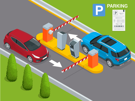 Isometric Parking payment station, access control concept. Parking ticket machines and barrier gate arm operators are installed at the entrance and exit of parking area as tools to charge parking fee