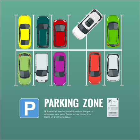 Illustration of city parking lot with a set of different cars.