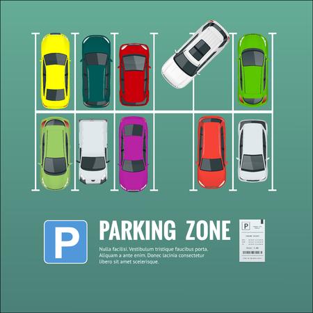 Ilustración del estacionamiento de la ciudad con un conjunto de diferentes coches.