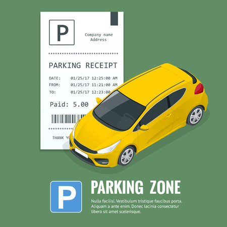 Car in the parking lot and Parking ticket.