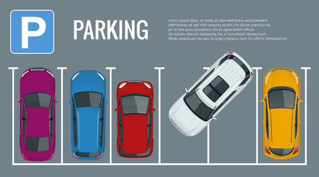 Vector illustration city parking lot with a set of different cars. Public car-park. Flat illustration for web. Urban transport. Large number of cars in a crowded parking.