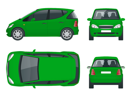 Small Compact Electric vehicle or hybrid car. Eco-friendly hi-tech auto. Easy color change. Template vector isolated on white View front, rear, side, top Illustration