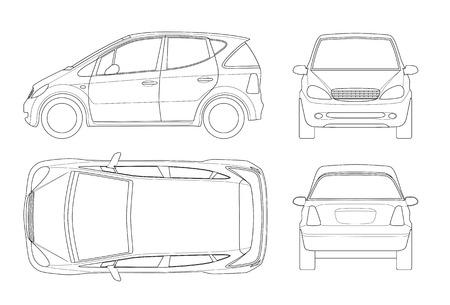 Kleines kompaktes elektrisches Fahrzeug oder hybrides Auto auf Entwurf. Umweltfreundliches High-Tech-Auto. Vorlagenvektor lokalisiert. Sehen Sie vorne, hinten, seitlich, oben. Einfach die Dicke der Linien zu ändern.