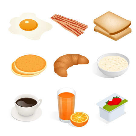 Set of isometric food scrambled eggs, yolk, breakfast, food, fast, delicious, bacon, bread, pancakes, croissant, oatmeal, coffee, tea, cup, orange, juice, yoghurt vector isolated on white background. Illustration