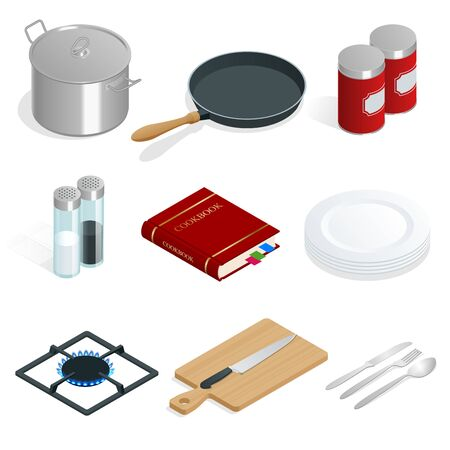 Isometric vector set of professional kitchenware and utensils on white background.