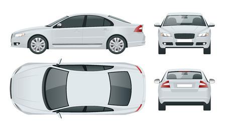 Véhicule berline d'affaires. Illustration vectorielle de voiture modèle vecteur Vue avant, arrière, côté, haut. Changez la couleur en un clic.